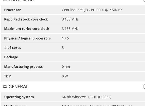 Процессоры Intel Lakefield раскрыли информацию о частотах